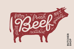 Trendy poster with red cow silhouette Stock Photos