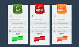 Trendy price list and offer columns. Flat vector. Trendy price list and offer columns. Three columns with green, red and orange color. Flat vector for your Stock Images