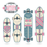 Trendy print on a longboard Royalty Free Stock Photo