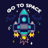 Trendy print with rocket royalty free illustration