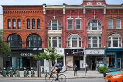 Trendy Queen Street, Toronto Stock Images