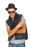 Trendy rapper gesturing Royalty Free Stock Photo