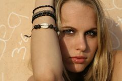 Trendy rebel. Beautiful, sensual, pouty, trendy blond Royalty Free Stock Images