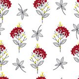 Trendy red Geometric dots flower seamless pattern vector print royalty free illustration
