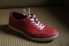 Trendy red sport shoes. On a textile floor Royalty Free Stock Images