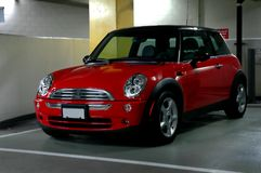 Trendy Red Sports Car. A Trendy Red Mini parked in an underground parkade stock images