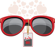 Trendy red sunglasses. Sale Stock Photo