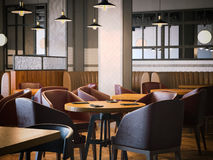 Trendy restaurant with wooden furniture. 3d rendering Stock Image