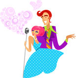 Trendy retro couple of singers. Boy and girl singing in retro mic, brightly colored illustration in 1950's and 1960's style stock illustration
