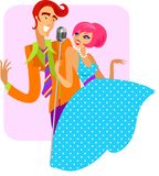 Trendy retro couple of singers - 2. Boy and girl singing in retro mic, brightly colored illustration in 1950's and 1960's style royalty free illustration
