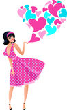 Trendy retro female singer. Valentines girl with hearts singing and dancing, brightly colored illustration in old-fashioned 1950's and 1960's style stock illustration