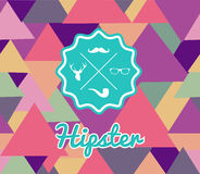 Trendy retro Hipsters label icons seamless pattern Stock Photography