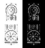 Trendy Retro Vintage Insignias - Badges vector set with the lighthouse. Happy Holidays 100% vector shape. Fully editable in Illustrator royalty free illustration