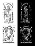Trendy Retro Vintage Insignias - Badges vector set with the lighthouse. Royalty Free Stock Photos