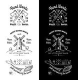 Trendy Retro Vintage Insignias - Badges vector set with the mill. Trendy Retro Vintage Insignias - tattoo Badges - dot work Stock Photo