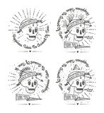 Trendy Retro Vintage Insignias - Badges vector set with the skull. Royalty Free Stock Image