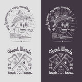 Trendy Retro Vintage Insignias - Badges vector set with the skull. Royalty Free Stock Photo