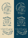Trendy Retro Vintage Insignias - Badges vector set with the skull. Trendy Retro Vintage Insignias - tattoo Badges - dot work 100% vector shape. Fully editable vector illustration