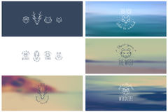 Trendy Retro Vintage Insignias Bundle. Animals. Fox, wolf, deer, owl. Stock Photos