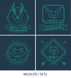 Trendy Retro Vintage Insignias Bundle. Animals Stock Photos