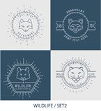 Trendy Retro Vintage Insignias Bundle. Animals Royalty Free Stock Photos