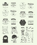 Trendy Retro Vintage Insignias Bundle Royalty Free Stock Image