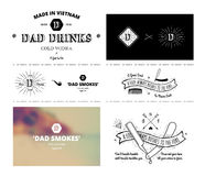Trendy Retro Vintage Insignias - tattoo Badges - dot work Stock Photos