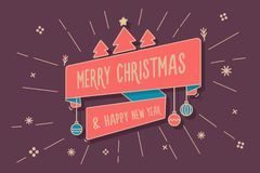 Trendy ribbon with Merry Christmas and happy new year message on a background with christmas shapes. Vector Illustration. For web, banners, greeting cards Royalty Free Illustration