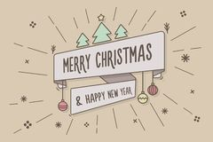Trendy ribbon with Merry Christmas and happy new year message onTrendy ribbon with Merry Christmas and happy new year message. Trendy ribbon with Merry Christmas Vector Illustration