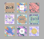 Trendy Sale Banners. Collection. Seasonal Clearance Tropical Set for advertising, poster, business, web, blog, invitation, etc Vector Illustration Royalty Free Stock Image