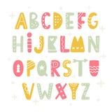 Trendy Scandinavian Folk Alphabet. ABC Hand Lettering. Handwritten Typographic Design For Poster, Banner, Brochure, Invitation, Card stock illustration