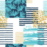 Trendy sea seamless pattern with hand texture and geometric elements. royalty free illustration