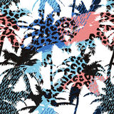 Trendy seamless exotic pattern with palm, animal prints and hand drawn textures. Modern abstract design for paper, wallpaper, cove. R, fabric and other users Stock Photos