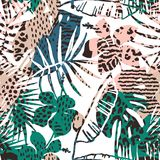 Trendy seamless exotic pattern with palm, animal prints and hand drawn textures. Vector illustration. Modern abstract design for paper, wallpaper, cover Stock Image