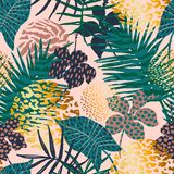 Trendy seamless exotic pattern with palm, animal prints and hand drawn textures. Vector illustration. Modern abstract design for paper, wallpaper, cover Stock Photos