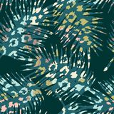 Trendy seamless exotic pattern with palm, animal prints and hand drawn textures. Vector illustration. Modern abstract design for paper, wallpaper, cover Royalty Free Stock Images