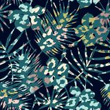 Trendy seamless exotic pattern with palm, animal prints and hand drawn textures. Vector illustration. Modern abstract design for paper, wallpaper, cover Royalty Free Stock Photos