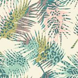 Trendy seamless exotic pattern with palm and animal prins. Trendy seamless exotic pattern with palm, animal prints and hand drawn textures. Vector illustration Royalty Free Stock Photography