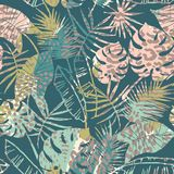 Trendy seamless exotic pattern with palm and animal prins. Trendy seamless exotic pattern with palm, animal prints and hand drawn textures. Vector illustration Stock Image