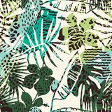 Trendy seamless exotic pattern with palm, animal prints and hand drawn textures. Vector illustration. Modern abstract design for paper, wallpaper, cover Royalty Free Stock Photography