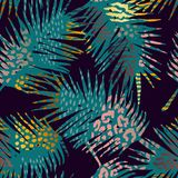 Trendy seamless exotic pattern with palm and animal prints. Trendy seamless exotic pattern with palm, animal prints and hand drawn textures. Vector illustration Royalty Free Stock Image