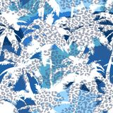 Trendy seamless exotic pattern with palm and animal prints . Modern abstract design for paper, wallpaper, cover, fabric and other Stock Photography