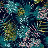 Trendy seamless exotic pattern with palm and animal prints. Trendy seamless exotic pattern with palm, animal prints and hand drawn textures. Vector illustration Royalty Free Stock Photography