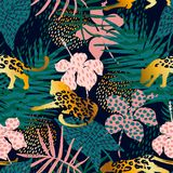 Trendy seamless exotic pattern with palm and animal prints. Trendy seamless exotic pattern with palm, animal prints and hand drawn textures. Vector illustration Royalty Free Stock Photos