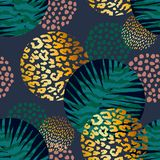 Trendy seamless exotic pattern with palm and animal prints. Trendy seamless exotic pattern with palm, animal prints and hand drawn textures. Vector illustration Stock Image