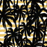 Trendy seamless exotic pattern with palm and geometric elements. Royalty Free Stock Image