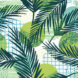 Trendy seamless exotic pattern with palm and geometric elements. Stock Image