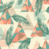 Trendy seamless exotic pattern with palm and geometric elements. Royalty Free Stock Photos