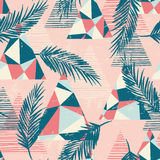Trendy seamless exotic pattern with palm and geometric elements. Royalty Free Stock Photo