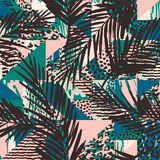 Trendy seamless exotic pattern with palm Stock Photography